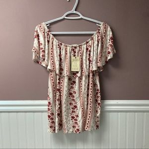 NWT Pink Rose off the shoulder top